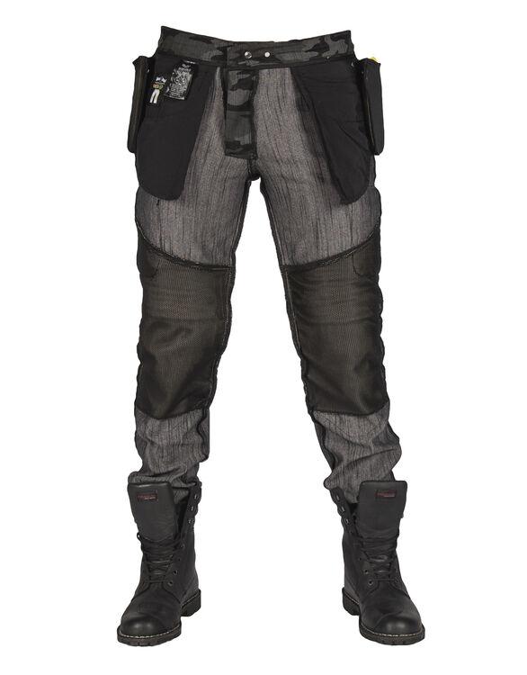 All Road Antrasit Camo Flexi Korumalı Motosiklet Kot Pantolonu