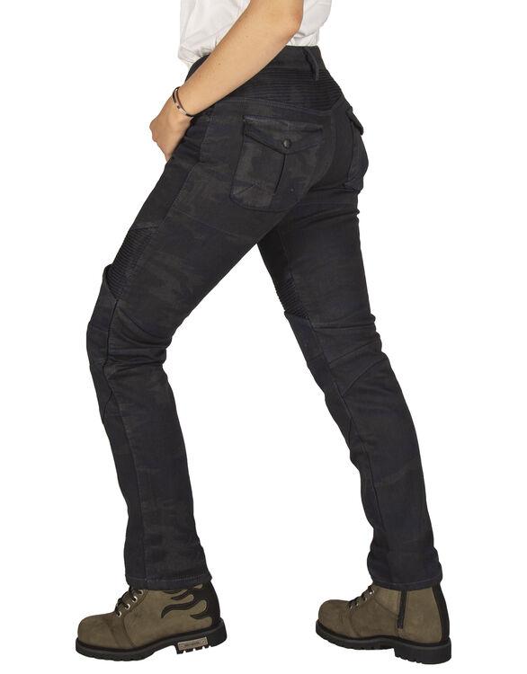 All Road Dark Blue Camo Flexi Korumalı Motosiklet Kot Pantolonu